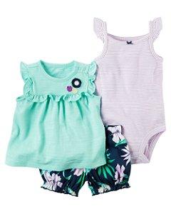 Conjunto 3 peças verde com short azul marinho florido - CARTERS