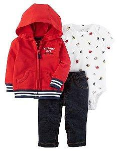 Conjunto 3 peças vermelho com calça imita jeans - CARTERS