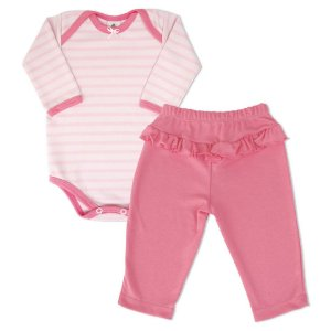 Conjunto 2 peças em malha rosa claro e escuro - PIU BLU