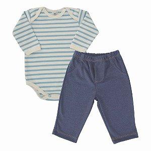 Conjunto 2 peças body listrado e calça imita jeans - PIU BLU
