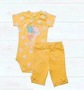 Conjunto 2 peças body amarelo Porquinha e bermudinha - BABY FASHION