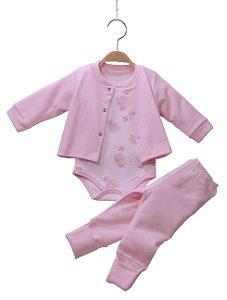 Conjunto em malha 3 peças branco e rosa floral - BABY FASHION