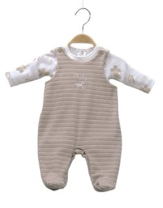 Jardineira em plush com body estampado - BABY FASHION