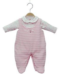 Jardineira rosa em plush com body estampado - BABY FASHION
