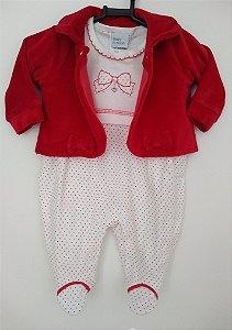 Macacão em malha poá vermelho com casaquinho em plush - BABY FASHION
