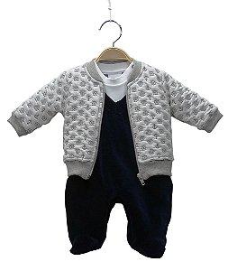 Macacão em plush azul marinho e branco com casaquinho matelasse - BABY FASHION