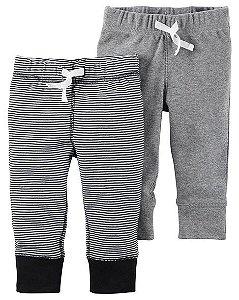 Conjunto 2 calças em malha cinza e listrada - CARTERS