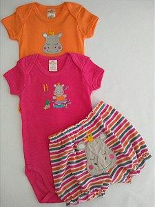 Conjunto 3 peças pink e laranja Hipopótamo  - BEST CLUB