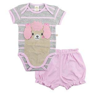 Conjunto 2 peças body cinza e rosa Poodle - BEST CLUB