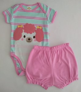 Conjunto 2 peças body verde e rosa Poodle - BEST CLUB