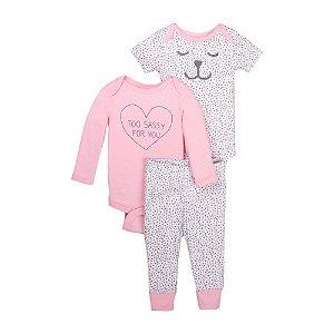 Conjunto 3 peças algodão orgânico cinza e rosa Cachorrinha  - Little Star Organic