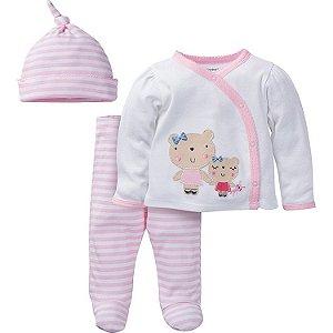 Conjunto 3 peças rosa e branco Ursinhas - GERBER