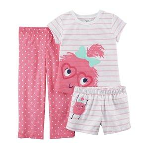 Conjunto pijama 3 peças Monstrinha Rosa - CARTERS