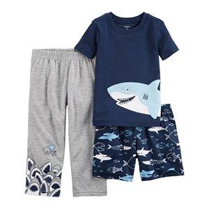 Conjunto pijama 3 peças Tubarão - CARTERS