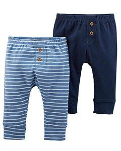Conjunto 2 calças em malha Saruel azul marinho e listrada - CARTERS