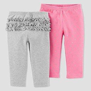 Conjunto 2 calças em malha rosa e cinza Child of Mine made by CARTERS