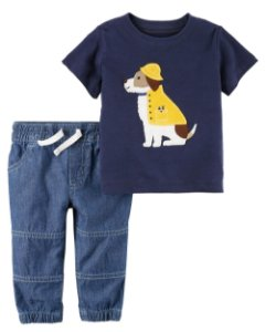 Conjunto 2 peças camiseta cachorrinho e calça em chambray - CARTERS