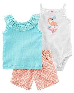 Conjunto 3 peças azul e neon Flamingo - CARTERS