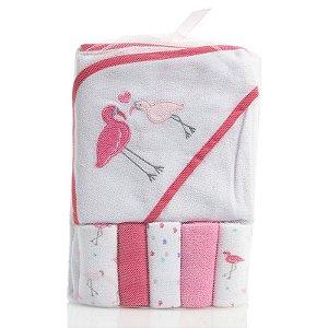 Kit toalha de banho branco e pink com 5 paninhos de boca Flamingos - BON BEBÉ