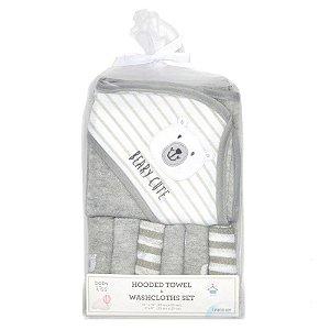 Kit toalha de banho cinza e branco com 6 paninhos de boca Ursinho - BABY KISS