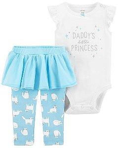 Conjunto 2 peças body branco com legging saia tutu azul - CARTERS