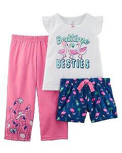 Conjunto pijama 3 peças azul marinho e rosa Flamingos - CARTERS