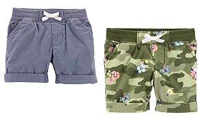 Conjunto 2 shorts verde camuflado florido e cinza escuro - CARTERS