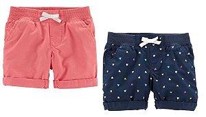Conjunto 2 shorts azul marinho corações e goiaba - CARTERS