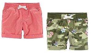 Conjunto 2 shorts goiaba e verde camuflado florido - CARTERS