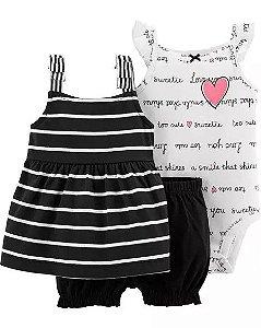 Conjunto 3 peças branco e preto Coração - CARTERS
