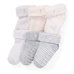 Kit 6 pares de meias 0-6 meses - RALPH LAUREN