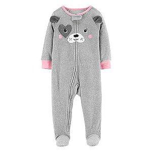 Macacão em fleece cinza e rosa Cachorrinha - CARTERS