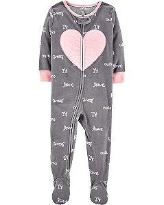 Macacão em fleece cinza e rosa Coração - CARTERS