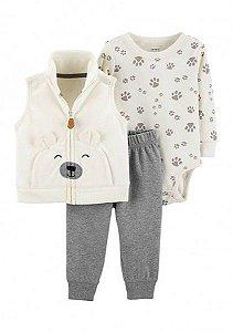 Conjunto 3 peças off white colete ursinho em fleece - CARTERS