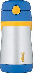 Garrafinha térmica azul e amarelo 290ml - THERMOS FOOGO
