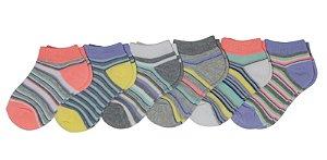 Kit 6 pares de meias listradas 0-6 meses ou 6-18 meses - GARANIMALS