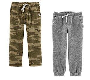 Conjunto 2 calças em fleece camuflada e cinza - CARTERS