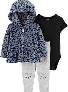 Conjunto 3 peças casaco Leopardo em fleece -  CARTERS
