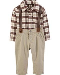 Conjunto 2 peças calça com suspensório e body camisa em flanela - CARTERS