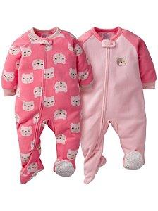 Conjunto 2 macacões em fleece Ursinha rosa - GERBER
