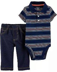 Conjunto 2 peças body polo listrado com calça imita jeans -  CARTERS