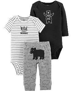 Conjunto 3 peças preto e branco Urso - CARTERS