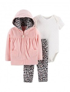 Conjunto 3 peças casaco em plush rosa leopardo - CARTERS