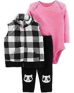Conjunto 3 peças colete xadrez em fleece Panda - CARTERS