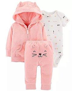 Conjunto 3 peças Gatinha rosa com casaco e calça atoalhados - CARTERS