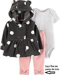 Conjunto 3 peças casaco em fleece poá com calça rosa laço - CARTERS
