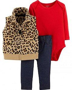 Conjunto 3 peças colete em fleece Leopardo - CARTERS