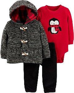 Conjunto 3 peças flanelado preto e vermelho Pinguim - CARTERS