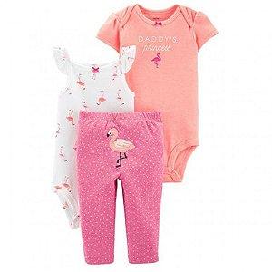 Conjunto 3 peças rosa e neon Flamingo -CARTERS