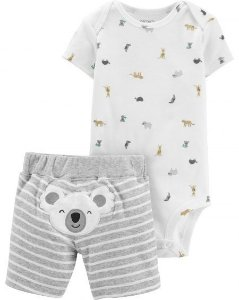 Conjunto 2 peças branco e cinza Koala - CARTERS